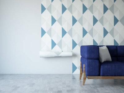 Applying wallpaper. Home improvement