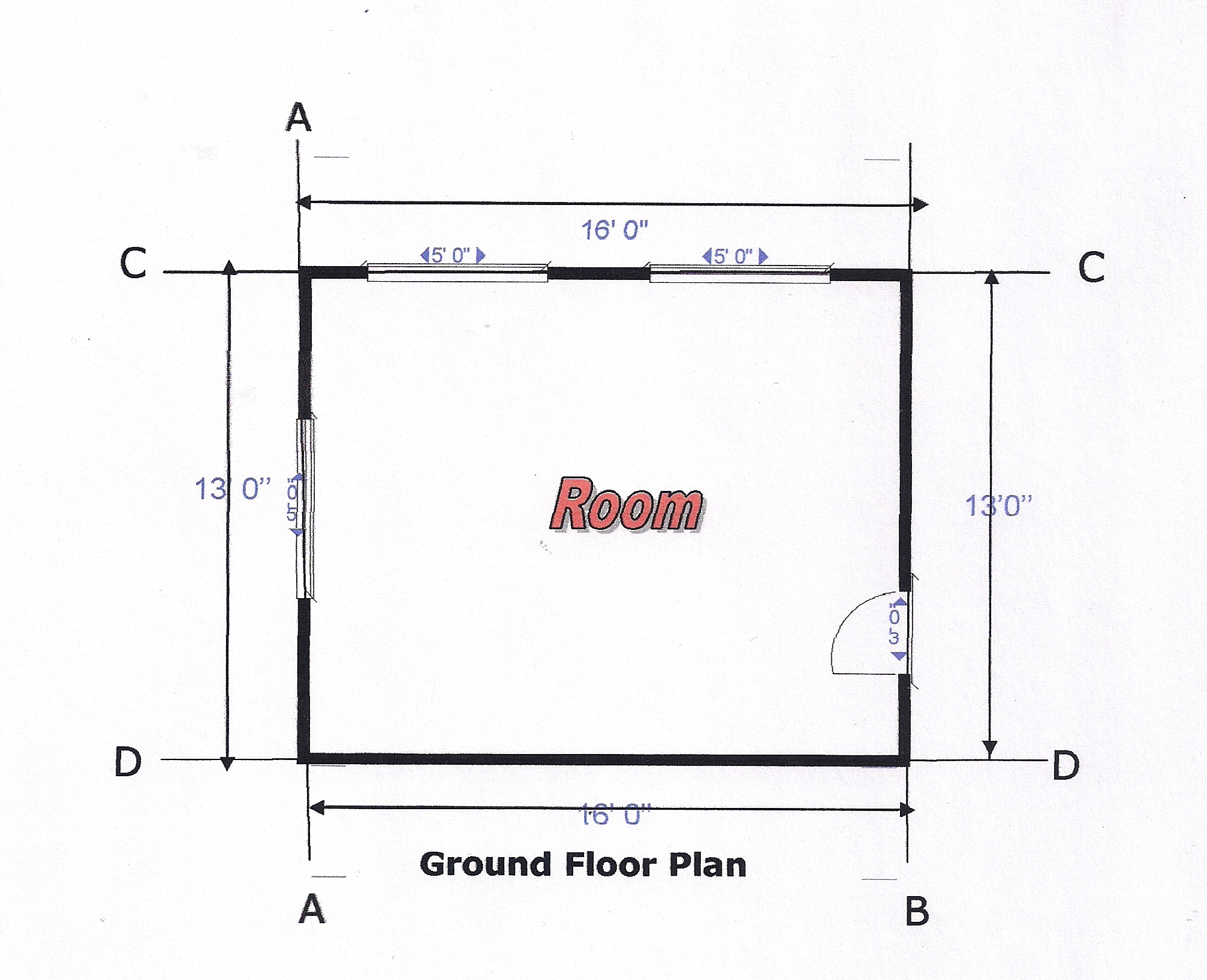 Fig 1 1 ground floor plan of a room
